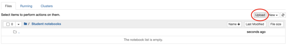 Screen shot showing the upload button for student notebooks