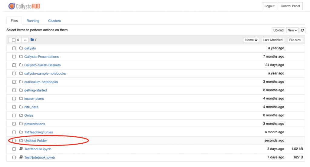 "Screen shot showing a new folder called ""Untitled Folder"""