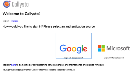 Screen shot of Callysto Hub login page
